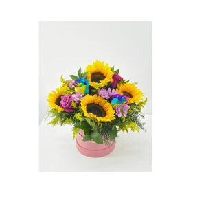 Box of roses with rainbow and sunflower