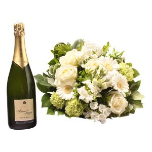 White bouquet with Champagne